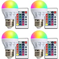 4-Pack LVJING 16 Modes Color Changing LED Light Bulbs with Remote Control