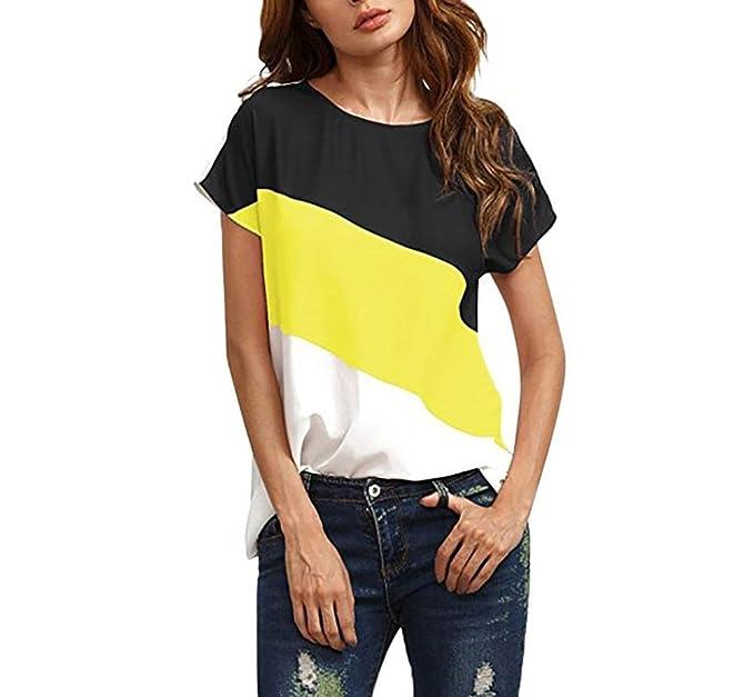 Camisetas Mujer Manga Corta Verano Elegante Patchwork T-Shirt Manga Corta Cuello Redondo Tops Joven Bastante Casual Chiffon Blusas Basicas Moda Tul Camisas ...