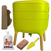 Urbalive Green Kit completo I Wormery Design I 250gr de compostaje gusanos I Starter Sustrato I Alfombra de cáñamo…