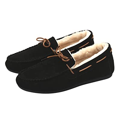 b21014547 Memorygou Womens Mens Moccasins Slippers Warm Fur Lined Slip On Winter  Shoes Non-Slip Couple