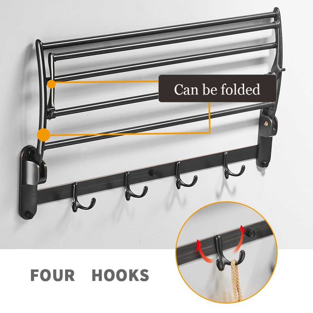 BESy Oil Rubbed Bronze Towel Racks, Bathroom Towel Shelf with Foldable Towel Bar Holder and Towel Hooks, Wall Mounted Multifunctional Double Towel Bars by BESy (Image #3)
