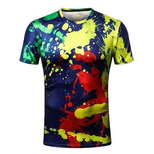 c8c19f8e0ba187 Men T-Shirt, Fashion Boys Slim Fit Paint Splashes Printed Short Sleeve Tees/