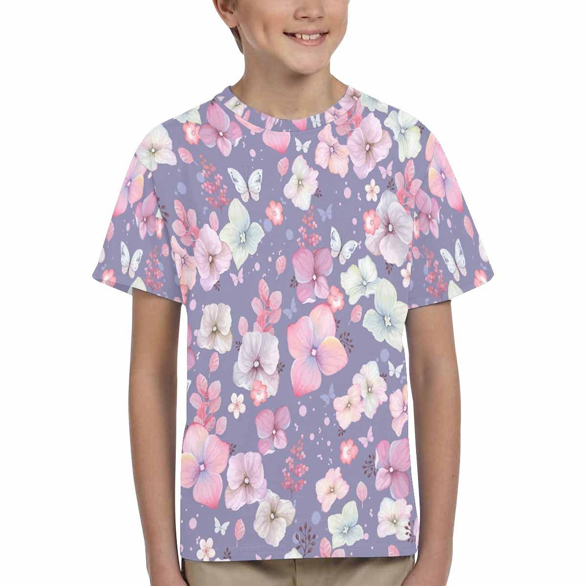 INTERESTPRINT Kids T-Shirt Rustic Pattern with Flowers XS-XL