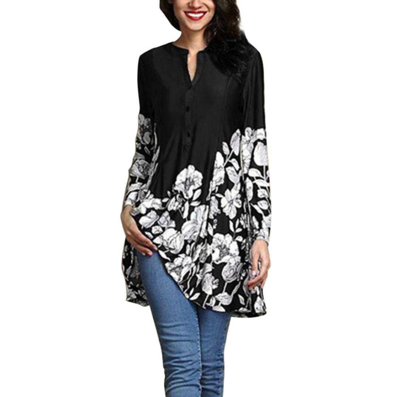 vermers Clearance Women Plus Size T Shirt - Women Casual Floral Print V-Neck Blouse Fashion Long Sleeve Button Tops(5XL, Black)