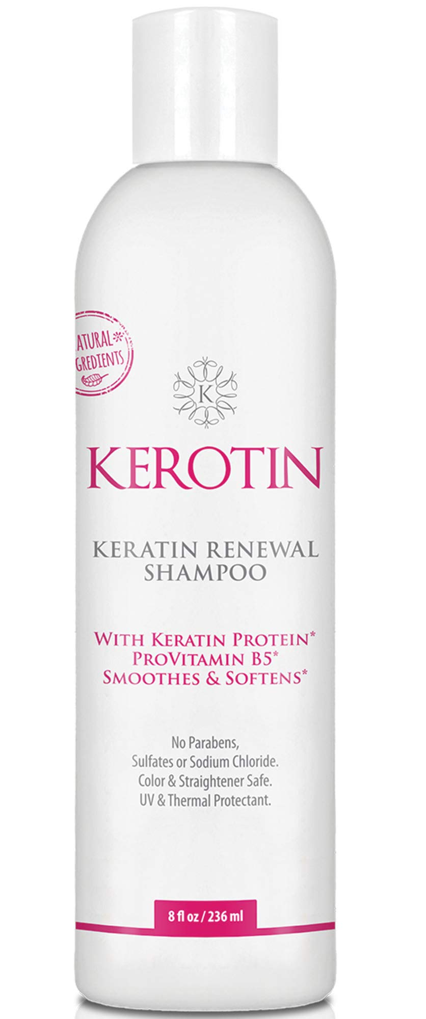 Keratin Renewal Shampoo - Repairs Damaged Hair & Promotes Growth with Follicle Stimulating Ingredients - Color Safe & Infused with Keratin Amino Complex - 8 Fl Oz by K Kerotin