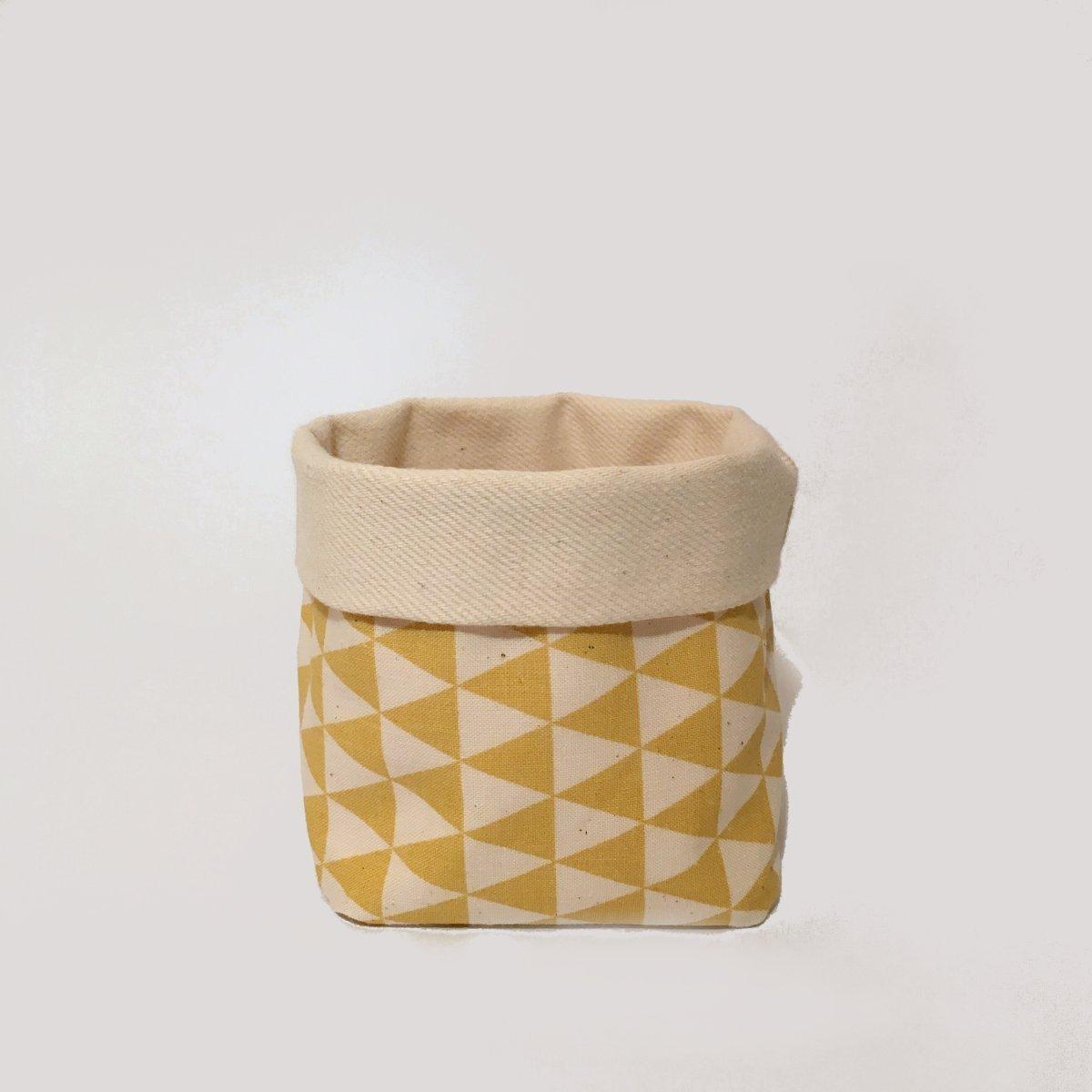 Utensilo Gelb-Weiß M I Stoff-Körbchen Organizer - Handmade von Nuu Berlin I Aufbewahrungs-Box Für Bad, Schlaf- Und Kinder-Zimmer I 10 x 10 x 13 cm