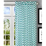 Ellis Curtain Reston Chevron Stripe Tailored Panel Curtain, 50-Inchx84-Inch, Turquoise