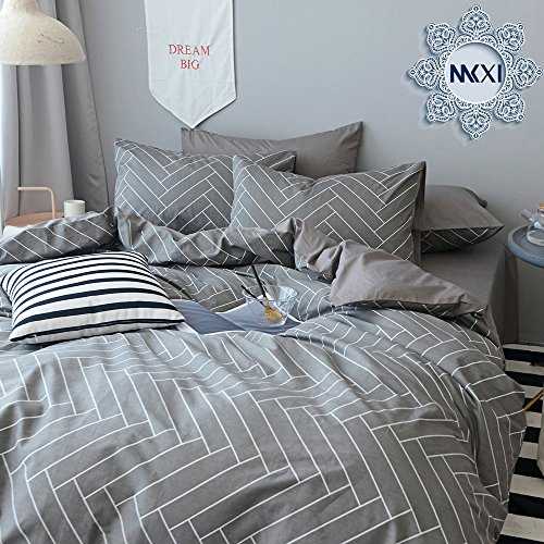 MKXI Modern Geometry Pattern Printed Duvet Cover Soft Cotton