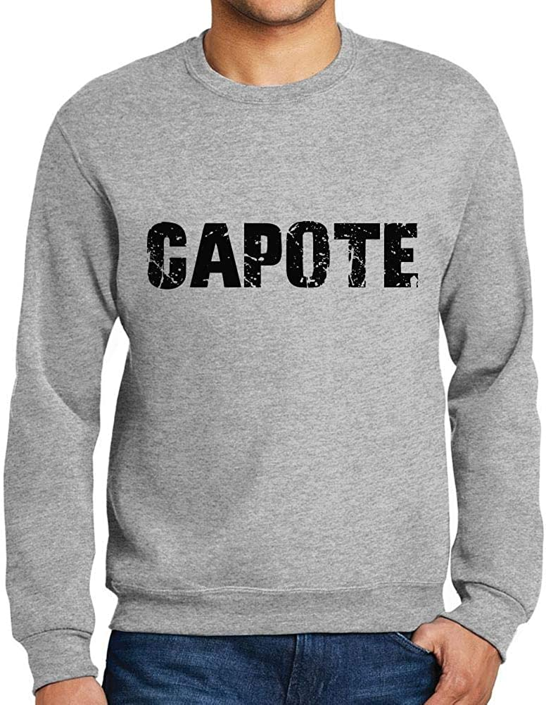 Ultrabasic Men/'s Printed Graphic Sweatshirt Popular Words Capote Grey Marl