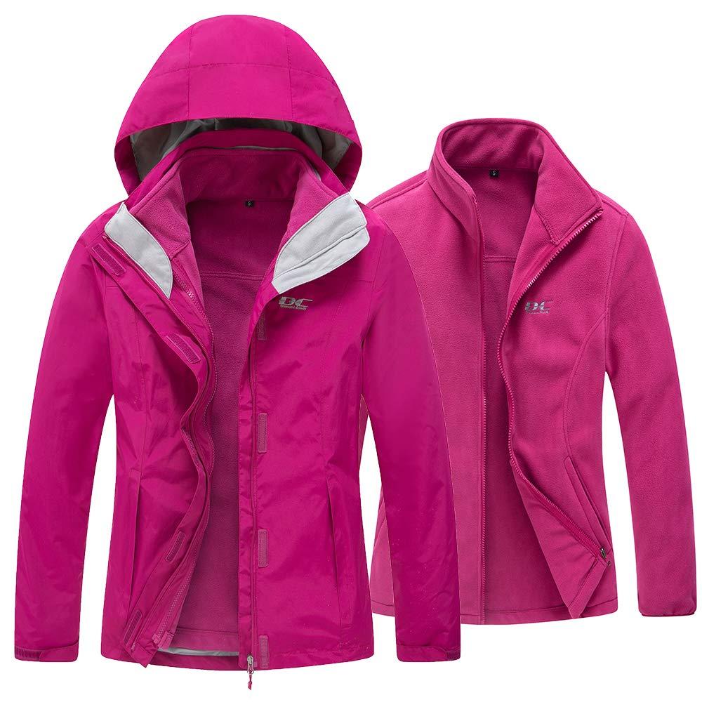 d5fb731dc Diamond Candy Women's 3 in 1 Winter Jackets with Hood Waterproof Rain Coat  Softshell Warm Jacket for Ski Hiking