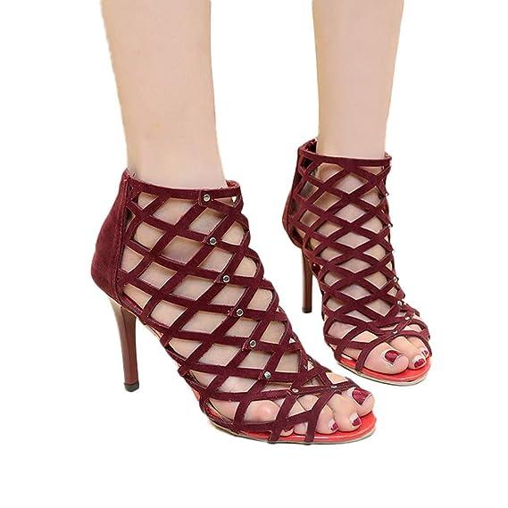 Rcool Zapatos de tacón zapatos de tacón alto mujer zapatos de tacón transparentes,Zapatos de boca de pez Sandalias antideslizantes de tacón alto: Amazon.es: ...