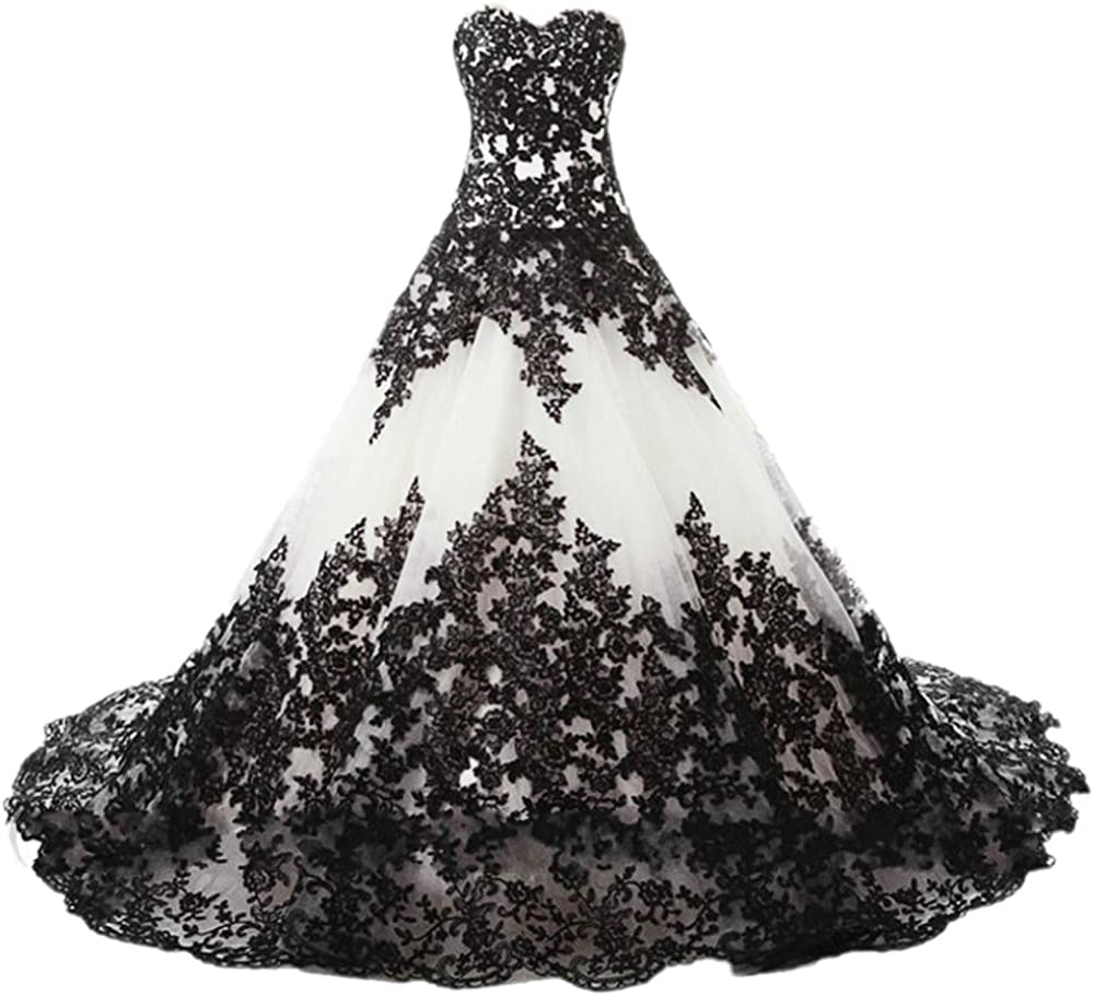 APXPF Women's Vintage Gothic Wedding Dress Elegant Black Appliques Prom  Ball Gowns