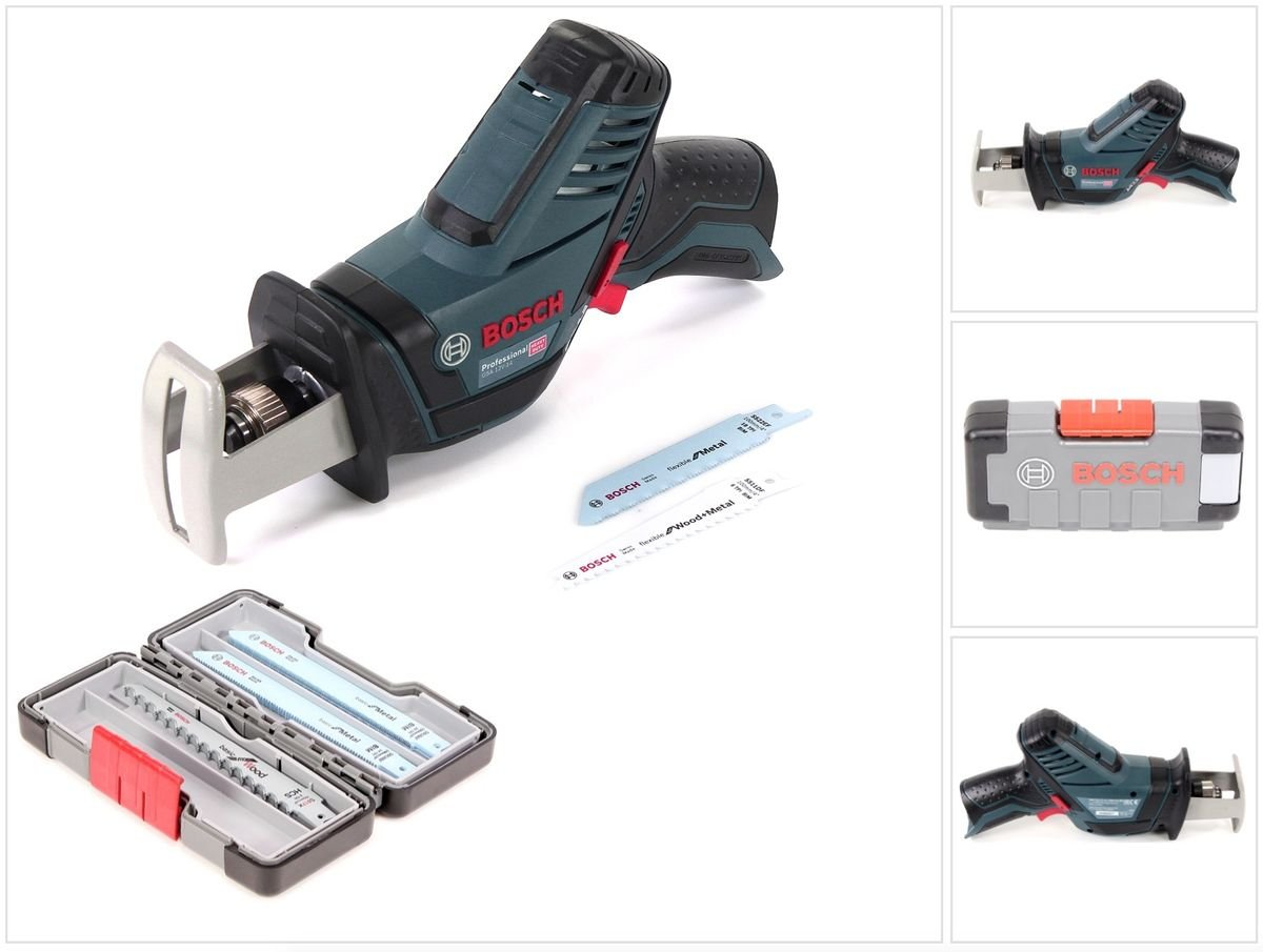 Bosch GSA 12V-14 Professional Akku Sä belsä ge Solo im Karton mit Einlage + 15 tlg Tough Box Sä belsä geblä tter Wood/Metal