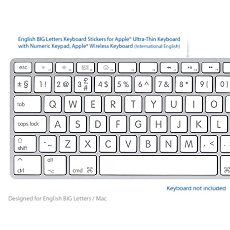 Inglés grandes (BIG) letras blancas Atajos de Teclado Pegatinas Etiquetas: Amazon.es: Electrónica