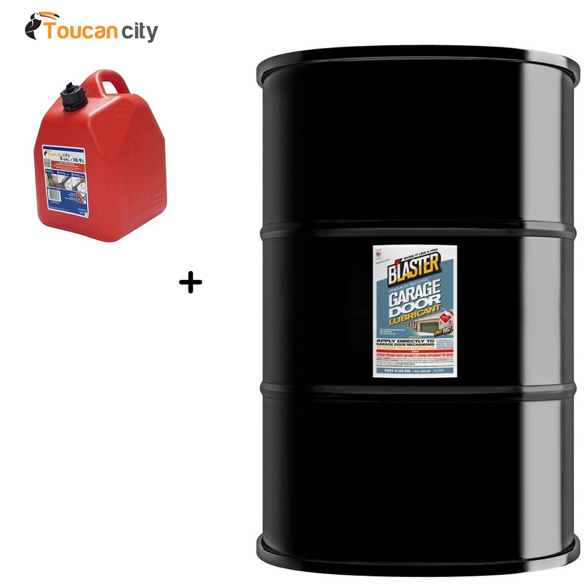 Blaster 55 Gal. Drum Premium Garage Door Lubricant 55-GDL and Toucan City Gas Can