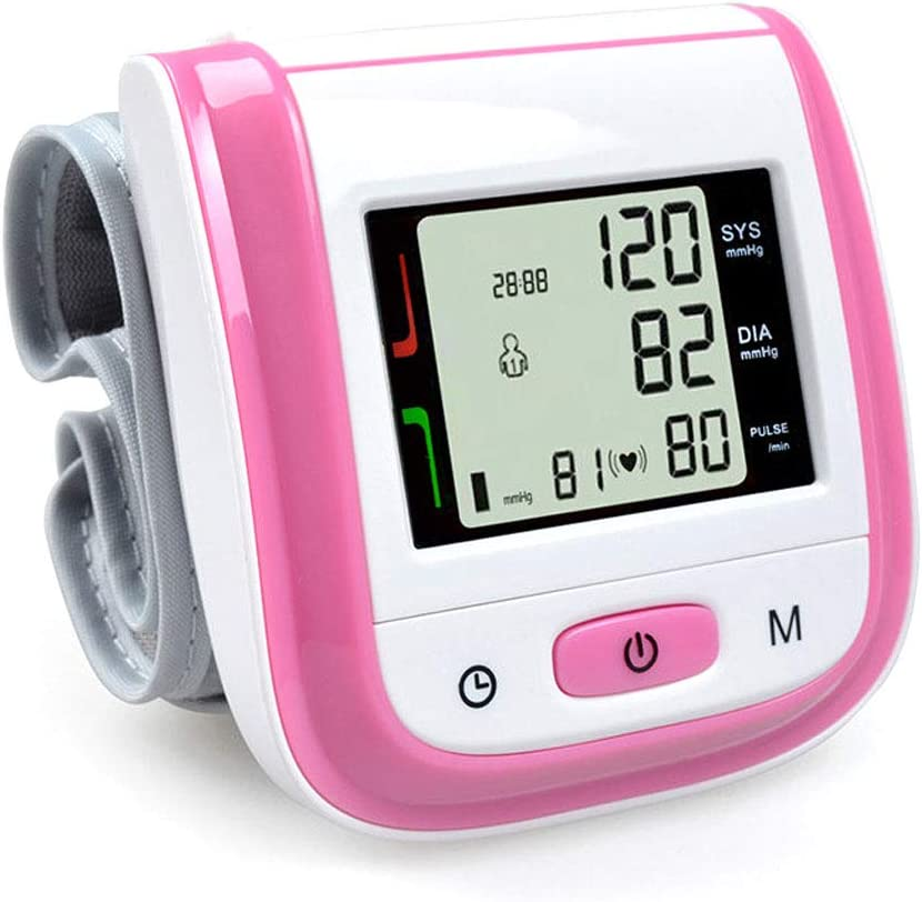 DONGBALA Digital Sphygmomanometer,Wrist Blood Pressure Monitor LCD Display Screen for Home Use Hypertension Indicator 99 Memories 13.5~19.5Cm Cuff for Adults,Pink