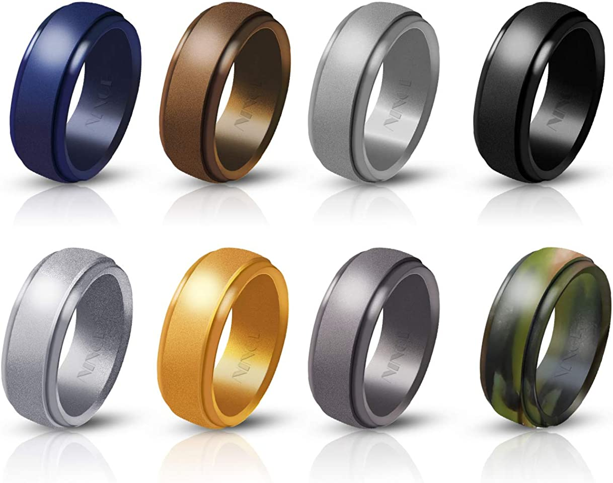 Ninge Silicone Rings,Silicone wedding ring for men 8 Rings Wedding Bands  for Men - 8 mm Wide Size 8 8 8 8 8 8 8 - 8 Pack