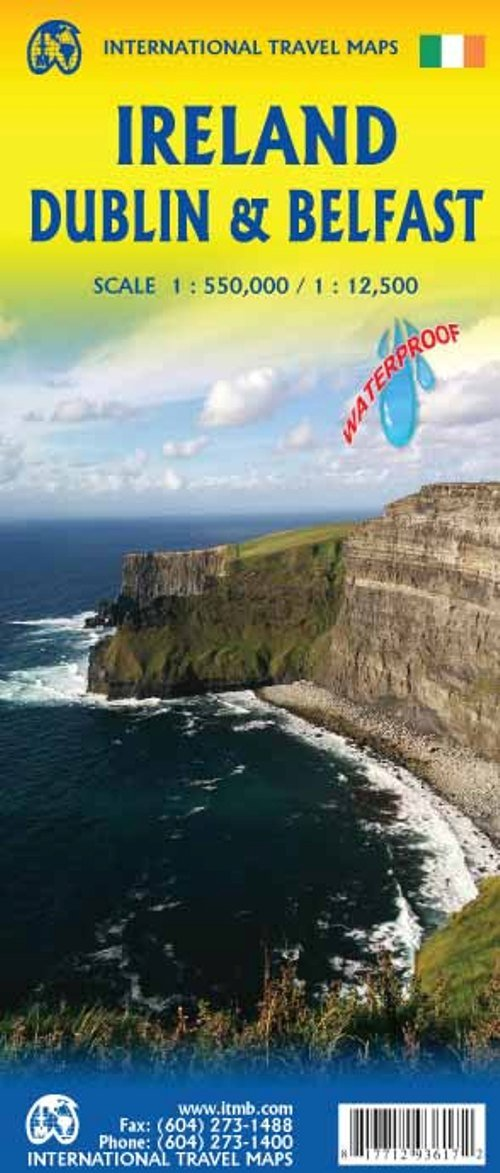 Map Of Ireland Headlands.Ireland With Dublin And Belfast Travel Reference Map Waterproof