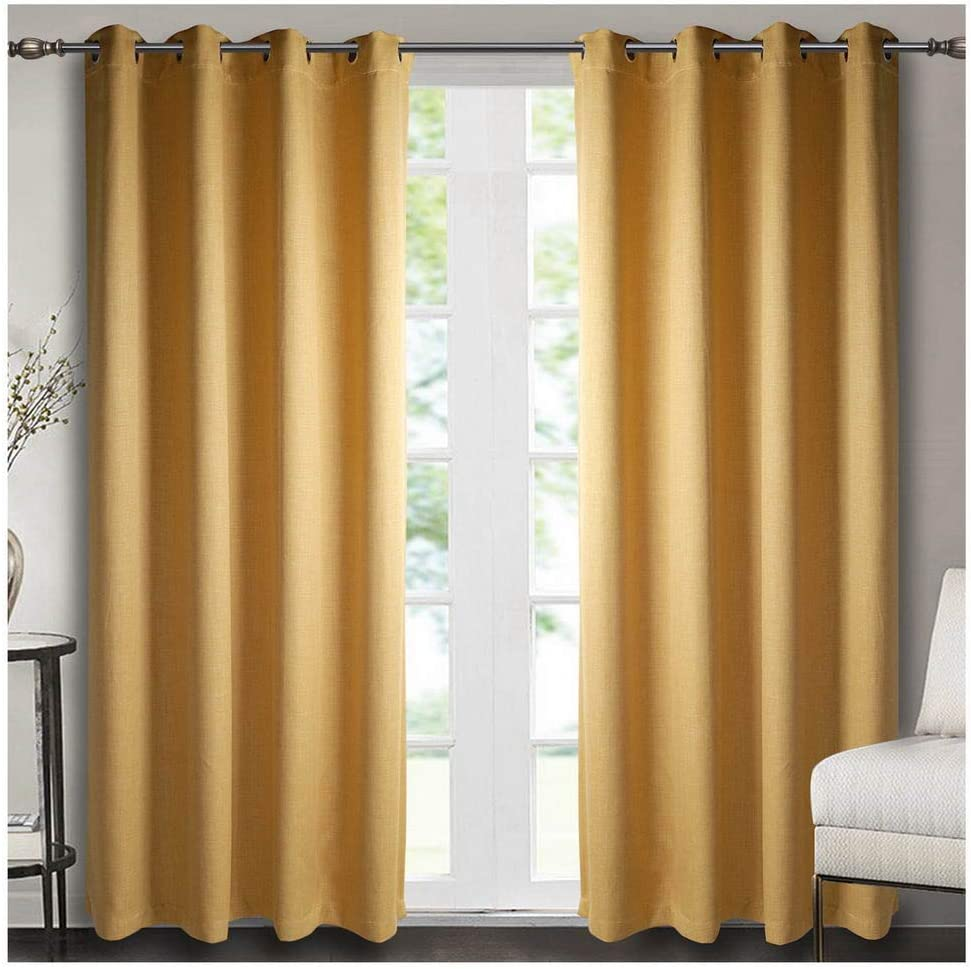 Singinglory Yellow Blackout Curtains 66x90 for Bedroom, 2 Panels Thermal Insulated Solid Window Treatment with Tiebacks for Living Room (Ochre,66x90) Ochre 66x90
