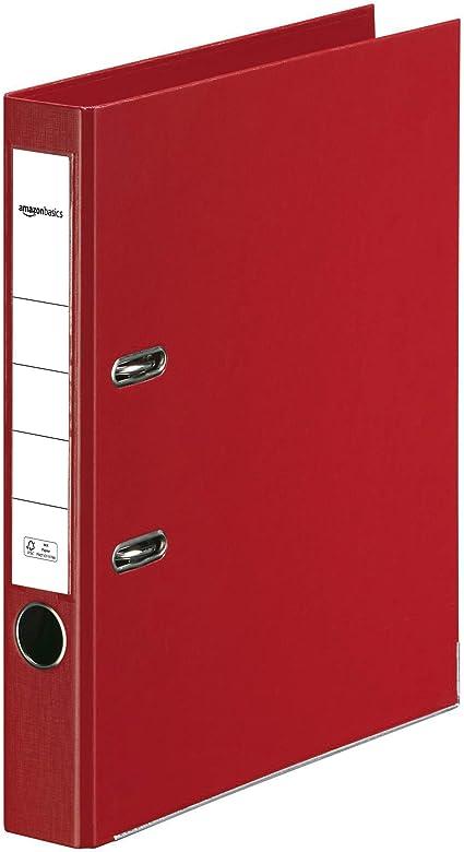 Oferta amazon: AmazonBasics - Archivador de palanca, cubierta de PP, lomo con bolsillo, Certificación FSC, lomo de 50 mm de ancho, paquete de 10, rojo