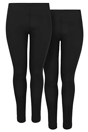 """fe30141479811 Yours Clothing Women's Plus Size 2 Pack Black Soft Touch Leggings Size  28"""" ..."""