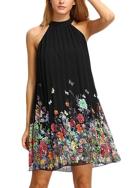 ... Halter Sin Casuales Mujeres Tirantes Vestido Camisero Vestidos Camiseros Negro Flores Moda Anchos Party Mini Vestido: Amazon.es: Ropa y accesorios