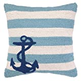 Peking Handicraft Hook Pillow, 18 by 18-Inch, Anchor Blue Stripes