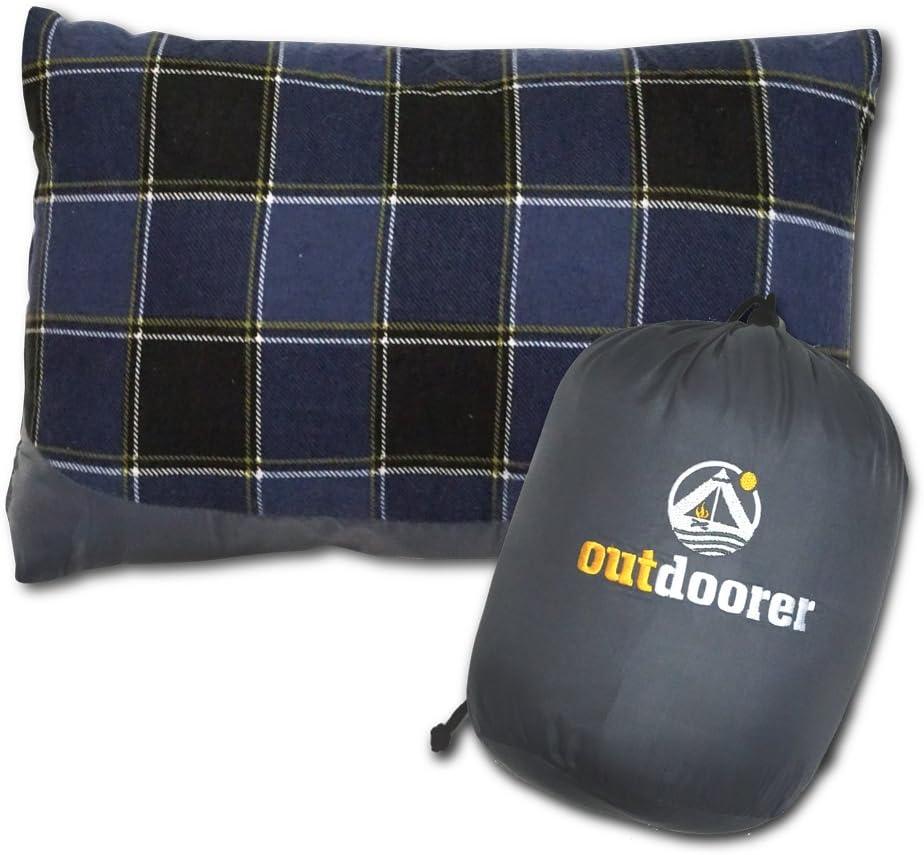 Outdoorer camping Cojín cuadros), Azul, ligero, pequeño pack Saco, el viaje almohada