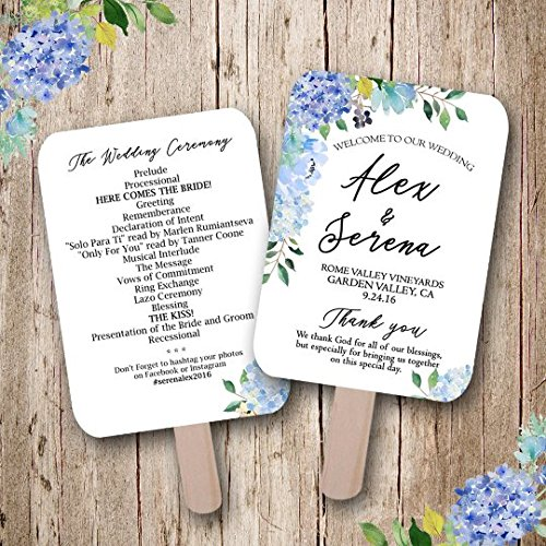 (Hydrangea wedding, Blue Wedding, Floral Wedding Program, Summer Wedding, Wedding fan, wedding favors, rustic wedding fan, handmade, wedding fans personalized, Sold in sets of)