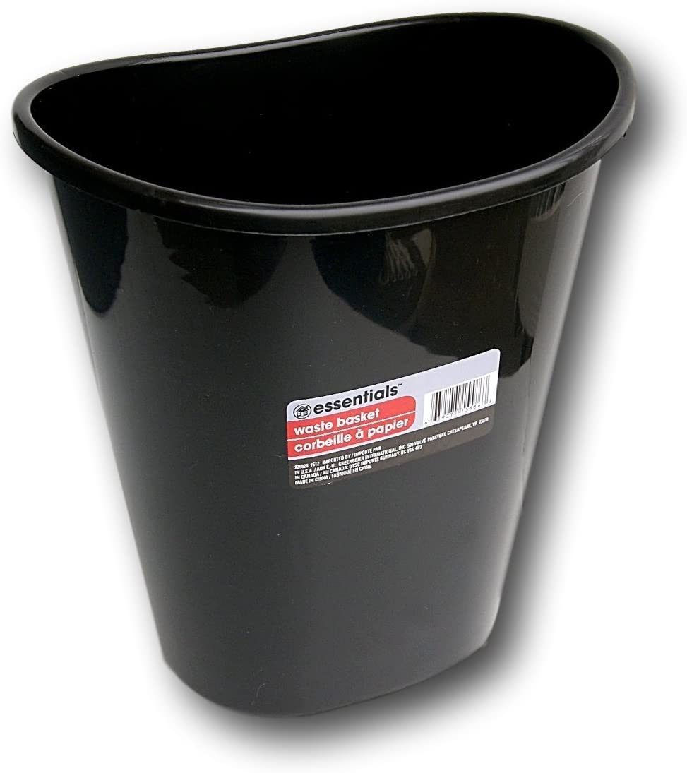 Greenbrier International Essentials Black Plastic Oval Wastebasket - 7 Qt.