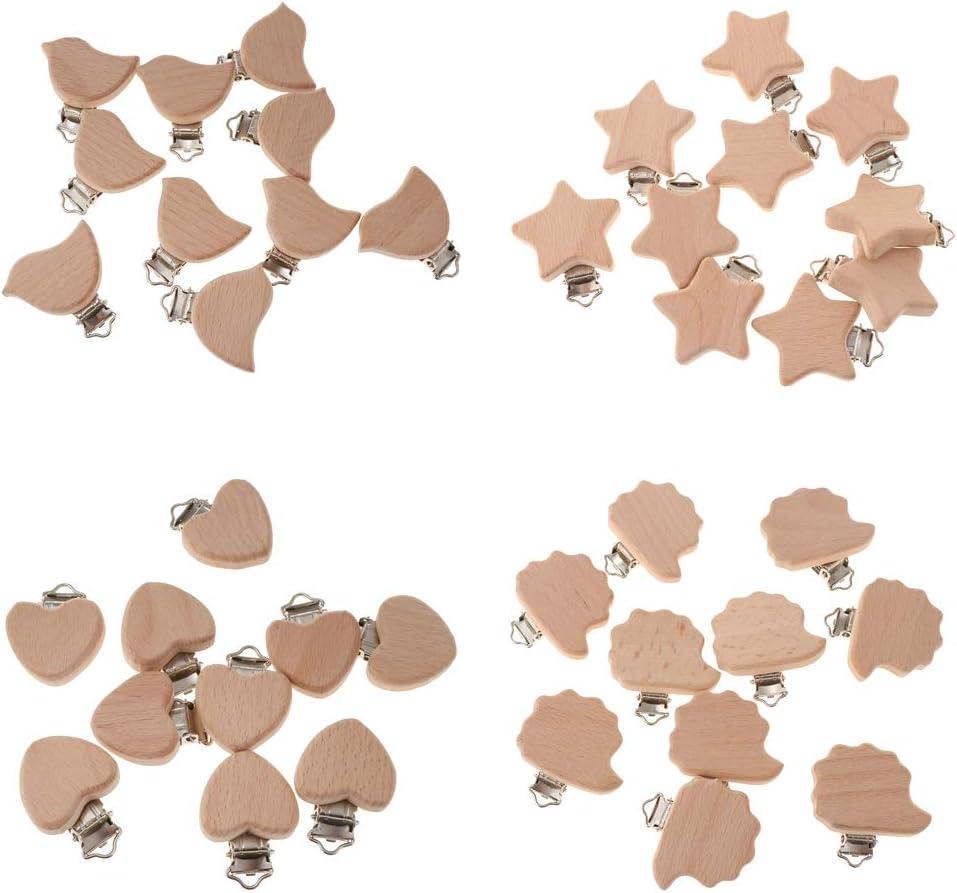 Herz MagiDeal 10pcs Nat/ürliche Holz Schnuller Clip DIY Schnullerclip Schnullerkette Zubeh/ör