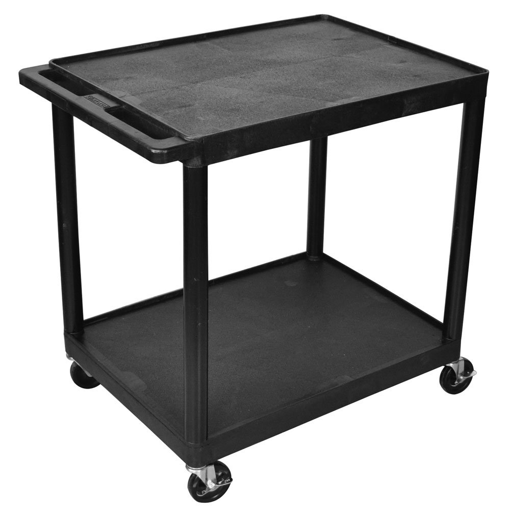 Luxor HE38-B Multipurpose 2 Shelves Storage Rolling Utility Cart - Black