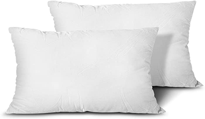 EDOW Throw Pillow Inserts, Set of 2 Lightweight Down Alternative Polyester Pillow, Couch Cushion, Sham Stuffer, Machine Washable. (White, 12x20)