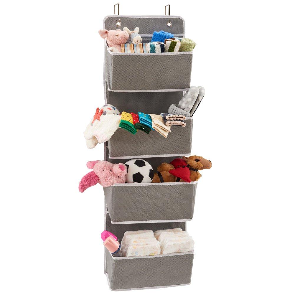 EZOWare Over The Door Organizer with 4 Pocket, Hanging Storage Organizer for Pantry Baby Nursery Bathroom Closet Dorm (Pack of 1, Gray)