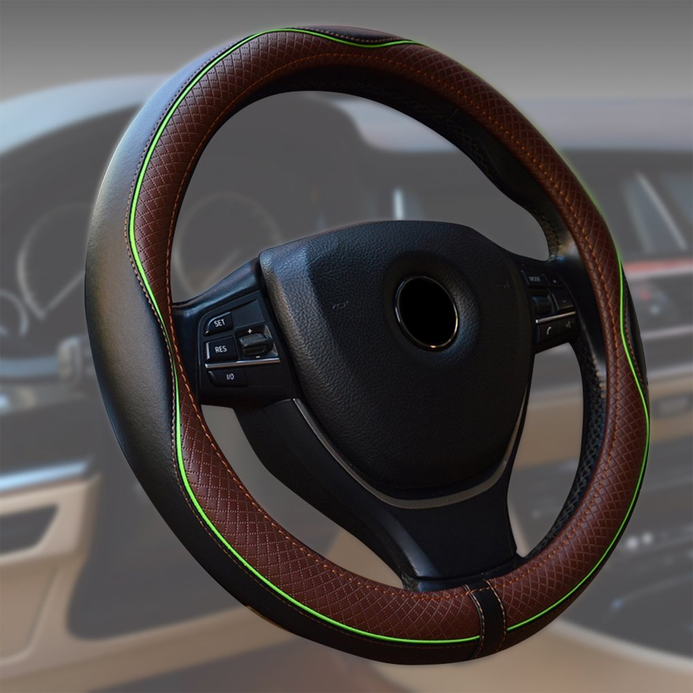 Camion Noir Van ECLEAR Housse de Volant Universelle en Cuir de Voiture 38 cm//15 Avec Rev/êtement Respirant et Antid/érapant Pour Voiture SUV