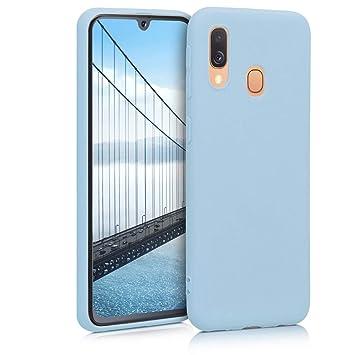 coque samsung a40 silicone bleu