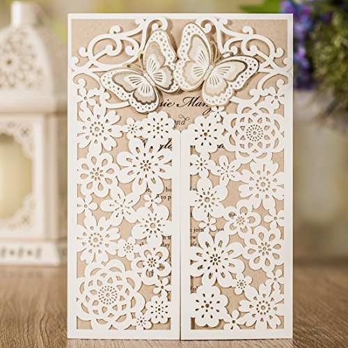 WISHMADE Ivory Laser Cut Wedding Invitations Cards with Butterfly Lace Flora Design and Kraft for Bridal Shower, Engagement, Birthday, Bachelorette Party, Baby Shower Quinceanera (pack of 50pcs)