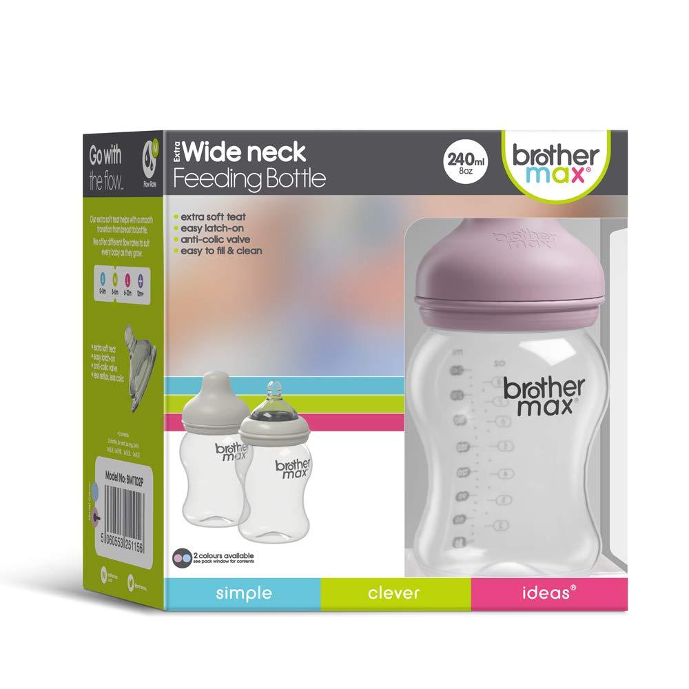 5oz, Pink Easy Latch Brother Max Breastmilk Baby Bottles for Breastfed Babies Breastfeeding Newborn Breast Like Anti-Colic Valve Slow Flow,