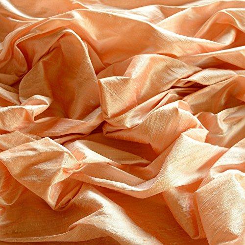 Iridescent Pale Peach Dupioni Silk, 100% Silk Fabric, By The Yard, 44