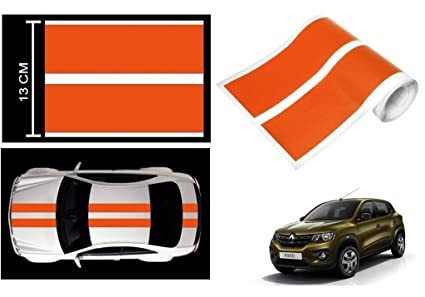Speedwav car racing stripe graphic sticker orange renault kwid