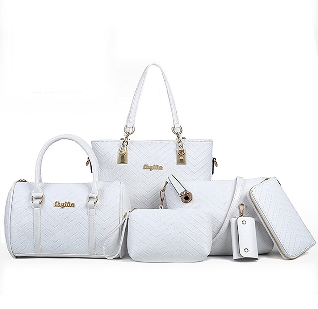 efd6c22d78a8 LaLagen 6PCS Embossed Bags Set Tote Messenger Clearance Crossbody Handbag  Purses for Women