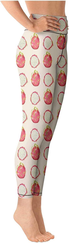 Eoyles gy Woman High Waist Printed Watercolor Dragon Fruit Workout Pants for Yoga Leggings