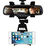 BOKA® Car Rear View Mirror Mount Stand - (New Generation Upgraded Car Model) Anti Shake Fall Prevention | 360 Degree Rotation | with Anti-Vibration Pads | Universal Adjustable Car Mount Holder Supports Up to 6.5 inch Mobiles (Black)