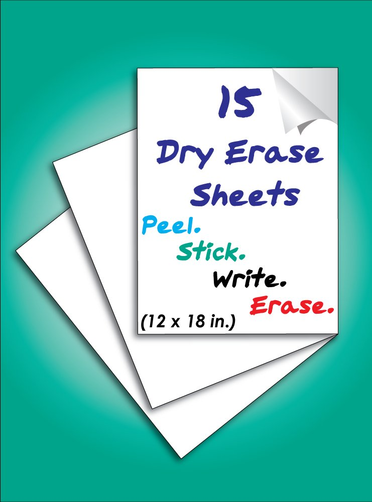 Everase Re-Stic Dry Erase Self-Adhesive Peel & Stick Sheets, (12 x 18 in, 15 sheets) | Premium Quality Removable Whiteboard Decal/Sticker | Walls, Doors, Desks, Refrigerators by Everase