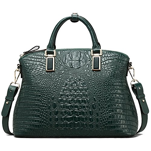 Women Genuine Leather Top-handle Handbags Embossed Crocodile【Full-grain Cowhide】Satchels for Party