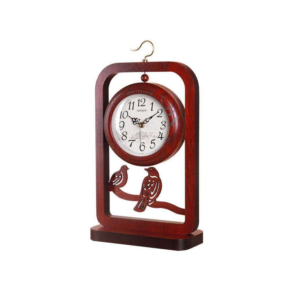ZAZAZA Health UK Clock- Clock Solid Wood Antique Quartz Desktop Clock Hollow Carving Bird Cage Shape Mute Sitting Bell Welcome