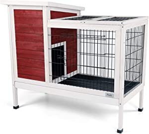 "Petsfit Wood Rabbit Cage with Not Leakage Deeper Removable Tray, 38.2"" L x 19.6"" W x 33.8"" H"