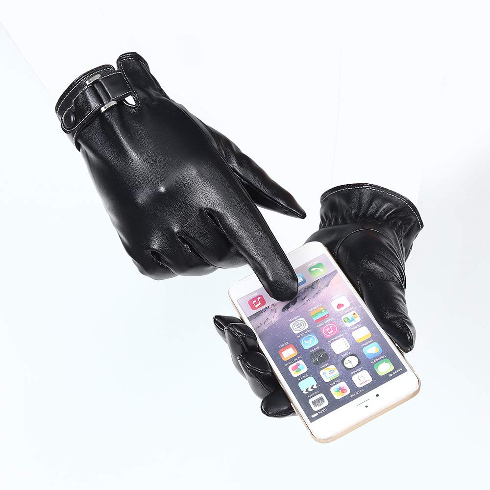 Jiusike Men Windproof Bicycle Leather Plus Velvet Touchscreen Buckle Gloves