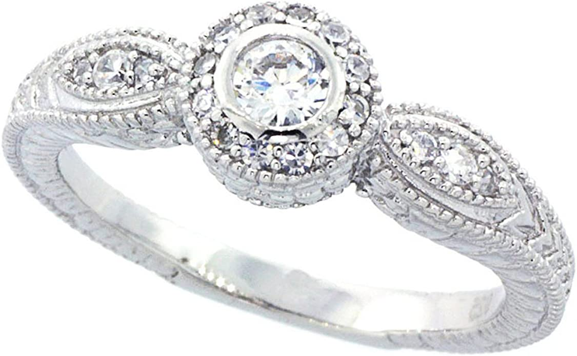Wedding Ring Round CZ Three Stone Halo Eternity Band Engagement Ring Double Accent Sterling Silver Rhodium Plated