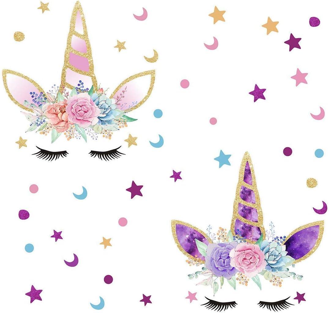 Bdecoll Pack of 2 Unicornio y Star Pegatinas de Pared Vinilos ...